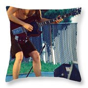 Angus Young Of A C D C At Day On The Green Monsters Of Rock Throw Pillow