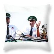 Anheuser Busch Budweiser Clydesdale Drivers And Mascot Usa Rodeo Throw Pillow