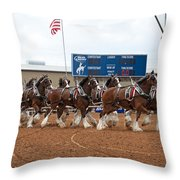 Anheuser Busch Clydesdales Pulling A Beer Wagon Usa Rodeo Throw Pillow