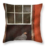 Animal - Bird - Chicken In A Window Throw Pillow