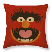 Animal Muppet Vintage Minimalistic Illustration On Worn Distressed Canvas Series No 008 Throw Pillow
