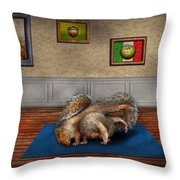 Animal - Squirrel - And Stretch Two Three Four Throw Pillow by Mike Savad