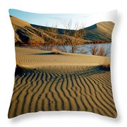 Animal Tracks In The Sand Throw Pillow
