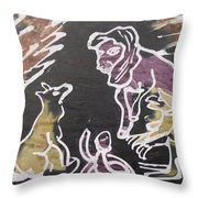 Animals Hold Their Monthly Meeting In The Bush. Throw Pillow