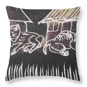 Animals Pose In The Remote Village. Throw Pillow