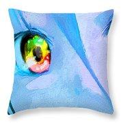 Anime Girl Eyes Blue Throw Pillow