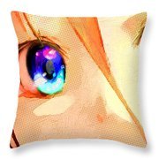Anime Girl Eyes Gold Throw Pillow
