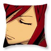 Anime Girl Red Throw Pillow
