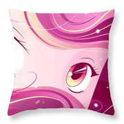 Anime Girl Throw Pillow by Sandra Hoefer