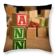 Ann - Alphabet Blocks Throw Pillow