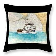 Ann Kathleen Crab Fishing Boat Nautical Chart Map Art Throw Pillow