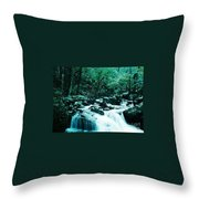 Anna Ruby Falls Watercolor Effect Throw Pillow