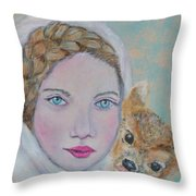 Annalina Litte Angel Of Graceful Light Throw Pillow by The Art With A Heart By Charlotte Phillips