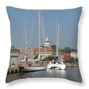 Annapolis Harbor Alongside Dock Street Throw Pillow