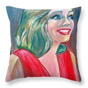 Anne Hathaway In Interview Throw Pillow by Patricia Taylor