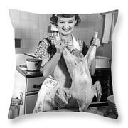 Anne Shirley And Her Turkey Throw Pillow by Underwood Archives