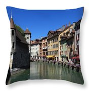 Annecy And Le Thiou Throw Pillow