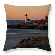 Annisquam Lighthouse At Sunset Throw Pillow