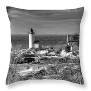 Annisquam Lighthouse Black And White Throw Pillow