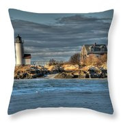 Annisquam Lighthouse From The Beach Throw Pillow