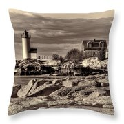 Annisquam Lighthouse Vintage Throw Pillow