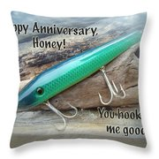 Anniversary Greeting Card - Saltwater Lure Throw Pillow