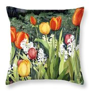 Ann's Tulips Throw Pillow