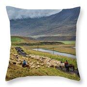 Annual Autumn Sheep Roundup Throw Pillow