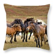 Annual Horse Round Up-laufskalarett Throw Pillow