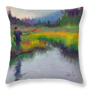 Another Cast - Fishing In Alaskan Stream Throw Pillow