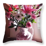 Another Grandma's Pitcher With Flowers Throw Pillow