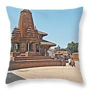 Another Hindu Temple N Bhaktapur Durbar Square In Bhaktapur -nepal Throw Pillow