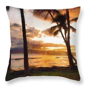 Another Maui Sunset - Pastel Throw Pillow