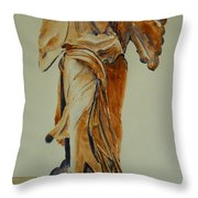Another Perspective Of The Winged Lady Of Samothrace  Throw Pillow