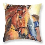 Horse In Watercolor Another Sunrise Throw Pillow