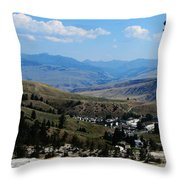 Another View From Mammoth In Yellowstone Throw Pillow