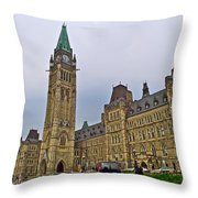 Another View Of Parliament Building In Ottawa-on Throw Pillow