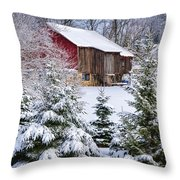 Another Wintry Barn Throw Pillow