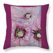 Ant Exploring Hollyhock Throw Pillow by Jo Anne Neely Gomez