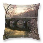 Anteitam Burnside Bridge In Spring Snow Throw Pillow