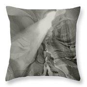 Antelope Canyon Light Black And White Throw Pillow