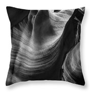 Antelope Canyon Waves Black And White Throw Pillow