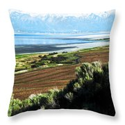 Antelope Island Wasatch Mountains Utah Throw Pillow