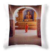 Anthony Howarth Collection - Gold - Saffron And Gold - Burma Throw Pillow