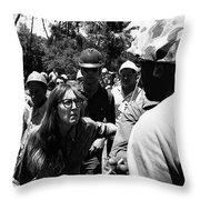 Anti-viet Nam War Protestor Confronting Smoking Marine Pro-war March Tucson Arizona 1970  Throw Pillow