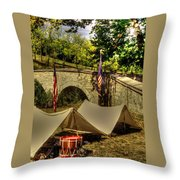 Antietam - 8th Connecticut Volunteer Infantry-a1 Encampment Near The Foot Of Burnsides Bridge Throw Pillow