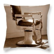Antiquated Barber Chair In Sepia Throw Pillow