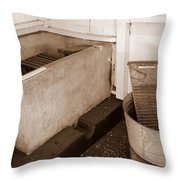 Antiquated Bathtub Washboard And Laundry Tub In Sepia Throw Pillow