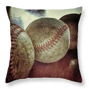 Antique Baseballs Still Life Throw Pillow