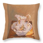 Antique Pitcher And Bowl Throw Pillow